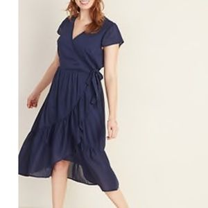 Faux wrap dress. Navy Blue
